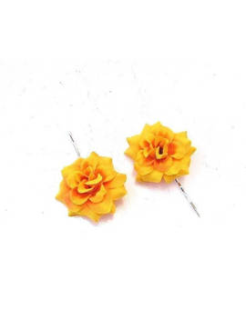2 Marigold Yellow Rose Flower Hair Grips Clips Bridesmaid Bobby Pins Slides 3464 by Etsy