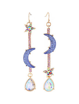 Hot Beautiful Betsey Johnson Fashion Jewelry Blue Moon&Star Earrings Woman Jewel by Betsey Johnson