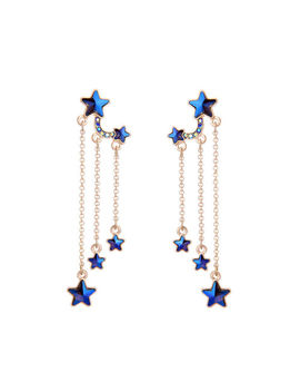 Betsey Johnson Long Pendant Blue Star Earrings Fashion Jewelry Rare by Betsey Johnson