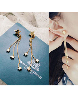 New Fashion Five Pointed Star Gold Color Long Tassel Chain Stud Earrings Jewelry by Unbranded