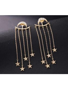 Beautiful Betsey Johnson Long Earrings Moon And Stars Alloy Rhinestone Earrings by Betsey Johnson