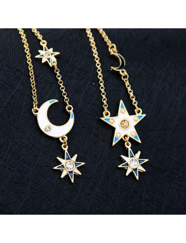 Betsey Johnson Enamel Asymmetrical Long Star Moon Earrings Fashion Jewelry by Betsey Johnson