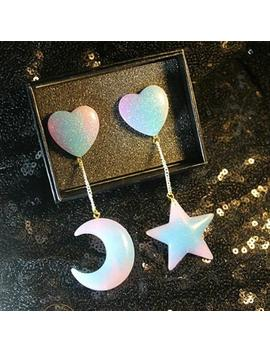 Exaggeration Stud Earrings Holographic Moon Star Shape Long Jewelry Hologram New by Sexe Mara
