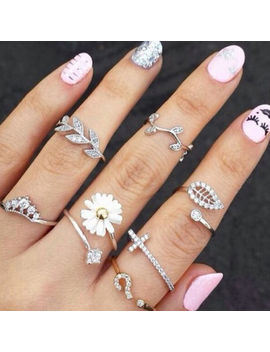 3pcs/Set Cute Sweet Ring Crystal Rhinestone Crown Cross Midi Finger Jewelry Hot by Does Not Apply