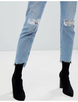 Asos Farleigh High Waist Slim Mom Jeans In Zaliki Light Vintage Wash With Busted Knee And Rip & Repair Detail by Asos Collection