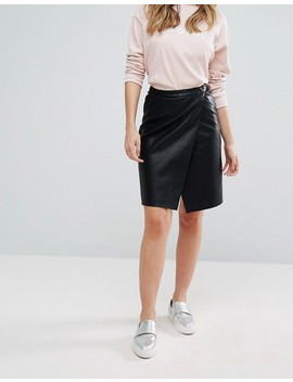 Vero Moda Faux Leather Wrap Skirt by Vero Moda