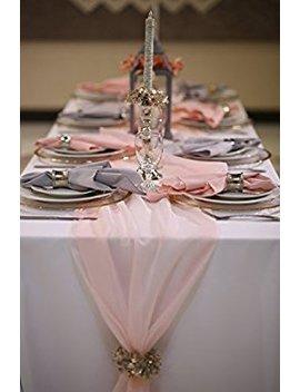 "Chiffon Wedding Table Runner 12"" X 108"" (Blush) by Zhen Linen"