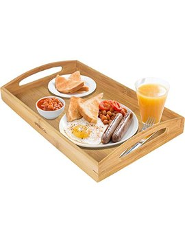 Greenco Rectangle Bamboo Butler Serving Tray With Handles by Greenco