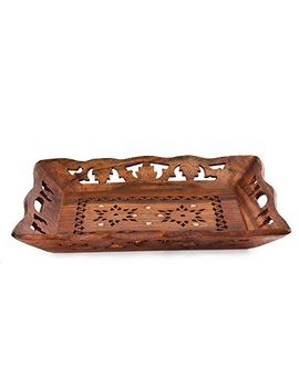 Rusticity Indian Rosewood Antique Designer Butler Serving Tray For Hot & Cold Drinks/Vintage Rustic Decorative Handmade Sheesham Food Platter For Dining Tableware & Kitchen Accessory by Rusticity
