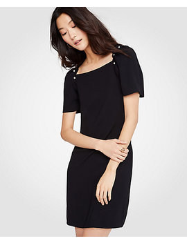 Petite Pearlized Puff Sleeve Shift Dress by Ann Taylor