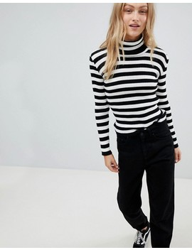 Daisy Street Roll Neck Jumper In Stripe by Daisy Street