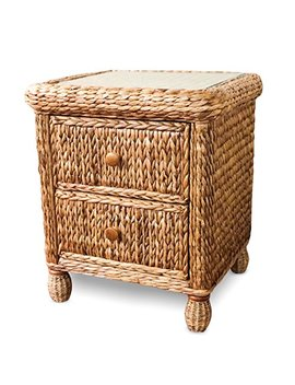 Wicker Paradise Bl102 Key West Miramar Natural Fibers Two Drawer Nightstand, Large by Wicker Paradise