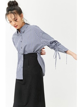 Ruched Sleeve Gingham Shirt by Forever 21