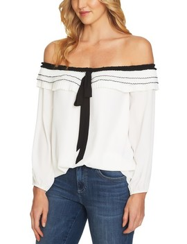 Off The Shoulder Pleated Blouse by Cece