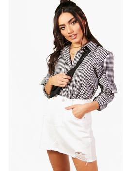 Eliza Ruffle Detail Gingham Shirt by Boohoo