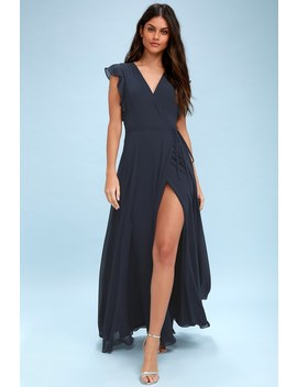 Crescendo Navy Blue Wrap Maxi Dress by Lulus
