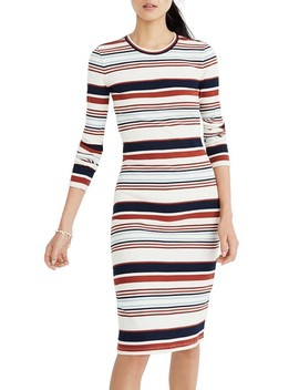 Multistripe Ribbed Long Sleeve Midi Dress by Madewell