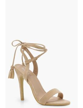 Lacey Wrap Strap Detail Barely There Sandals by Boohoo