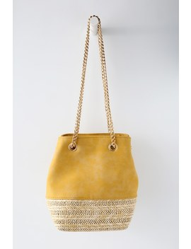 Frutta Mustard Yellow Suede Bucket Bag by Lulus