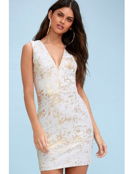 Cody Gold And White Sequin Bodycon Dress by Dress The Population
