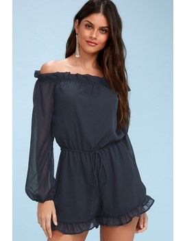 How's It Growing? Navy Blue Off The Shoulder Romper by Lulus