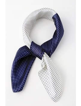 Hot To Dot Navy Blue And White Polka Dot Satin Scarf by Lulus