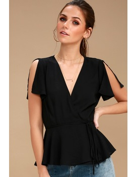 Think Chic Black Peplum Wrap Top by Lulus