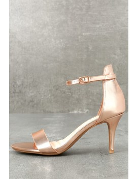 Published Author Rose Gold Ankle Strap Heels by Lulus