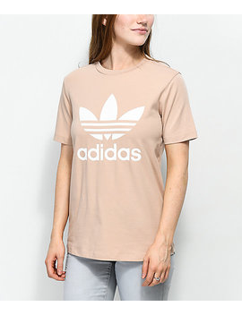 Adidas Trefoil Ash Pearl & White T Shirt by Adidas