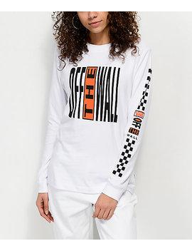 Vans Pinnacle White & Orange Long Sleeve T Shirt by Vans