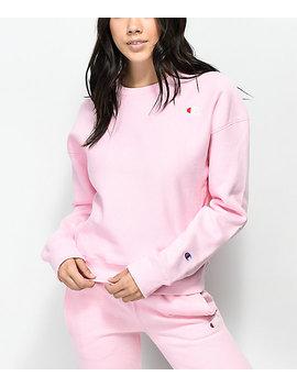 Champion Reverse Weave Candy Pink Crew Neck Sweatshirt by Champion