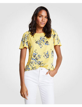 Petite Floral Vine Shirred Shoulder Tee by Ann Taylor