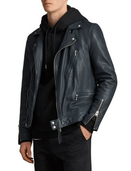 Carver Slim Fit Leather Biker Jacket by Allsaints