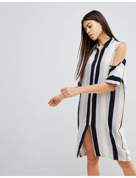 Noisy May Cold Shoulder Stripe Dress by Noisy May