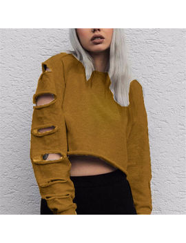 Women Long Sleeve Hollow Out Casual Loose Sweater T Shirt Ripped Blouse Crop Top by Unbranded
