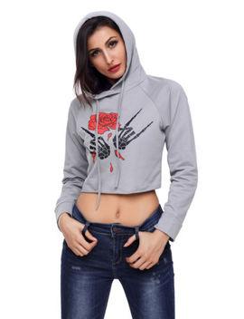 Us Womens Rose Crop Tops Pullover Hooded Sweatshirt Long Sleeve Cropped Hoodies by Unbranded