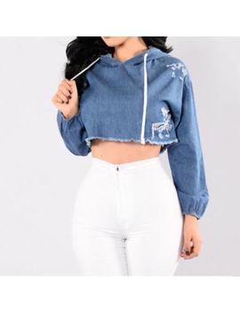 Ik  Women Fashion Ripped Denim Hooded Long Sleeve Slim Crop Top Shirt Hoodie Pop by Nocturne66us