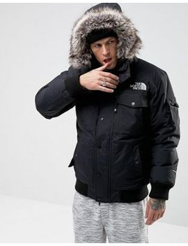 The North Face Gotham Bomber Jacket With Detachable Faux Fur Hood In Black by The North Face