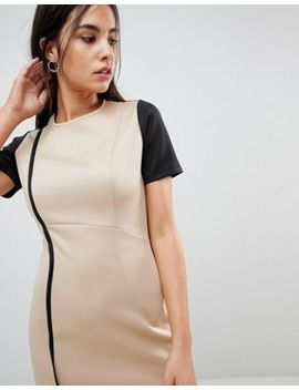 Asos Color Block Pencil Dress With Piping by Asos Collection