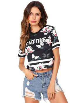 She In Womens Tie Dye Print Round Neck Short Sleeve Crop T Shirt Top One Size by She In