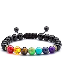 hamoery-men-women-8mm-lava-rock-7-chakras-aromatherapy-essential-oil-diffuser-bracelet-braided-rope-natural-stone-yoga-beads-bracelet-bangle-21004 by hamoery