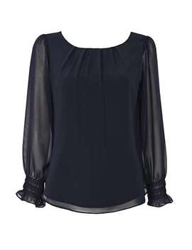 Petite Navy Sheered Cuff Top by Wallis