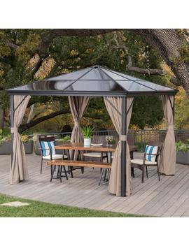 Bali Outdoor 10 X 10 Foot Rust Proof Aluminum Framed Hardtop Gazebo With Curtains by Gdf Studio