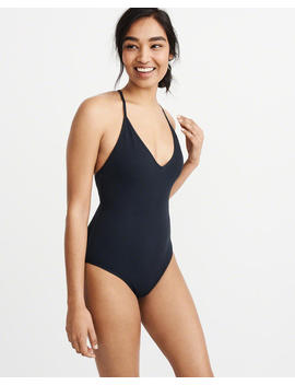 Textured Lace Up Back One Piece Swimsuit by Abercrombie & Fitch
