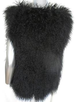 Black Mongolian Lamb Sleeveless Fur Vest by 1stdibs