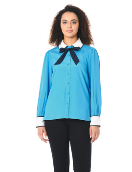 Peter Pan Collar Colorblock Crepe Shirt by Eshakti