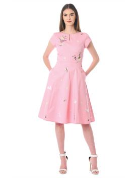 Floral And Rabbit Embellished Polka Dot Cotton Twill Dress by Eshakti
