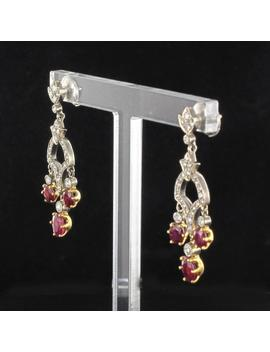 Ruby Diamond White Gold Drop Earrings by 1stdibs