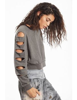 Distressed Crop Sweatshirt by Hard Tail Forever