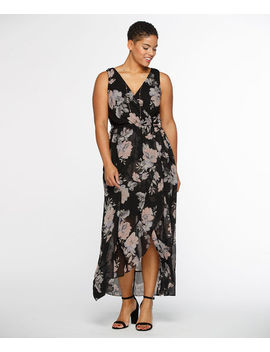 Cross Over Ruffle Maxi Dress by Ricki's